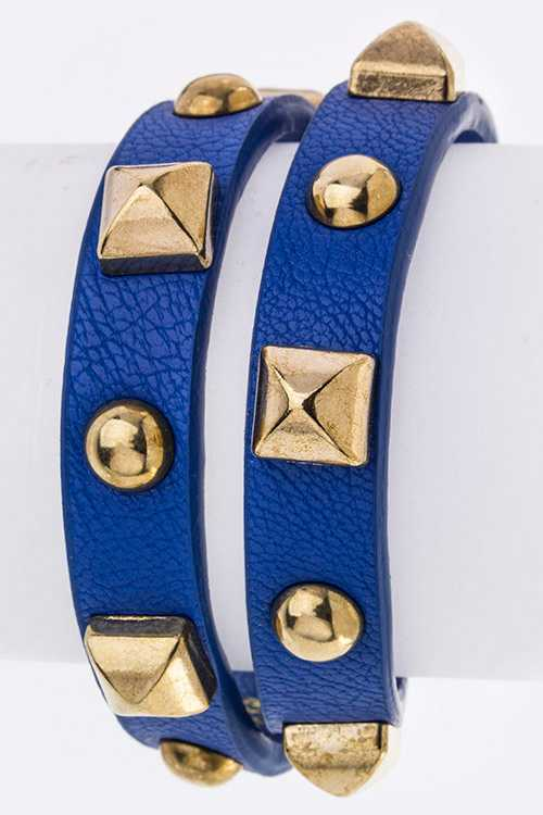 Pyramid Studs Double Wrap Leather Bracelet