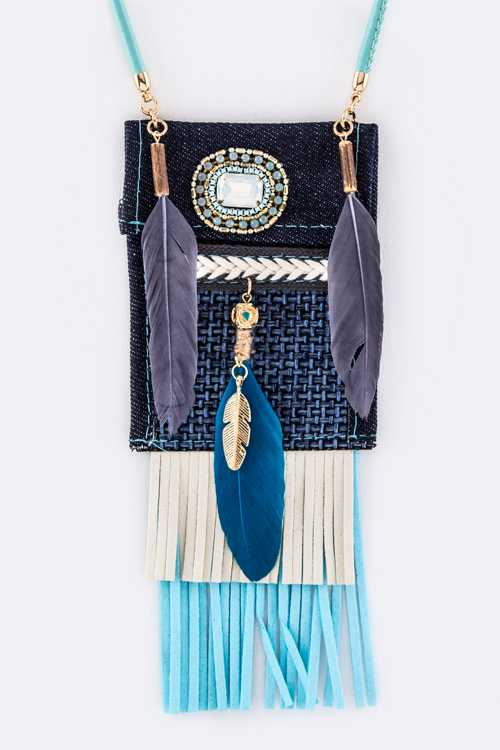 Festival Feathers Fringe Suede Pouch Necklace