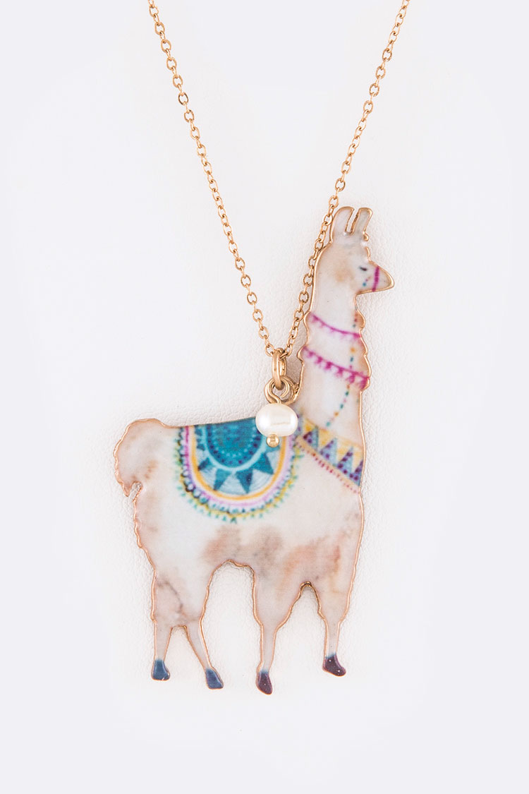Llama Printed Metal Pendant Necklace Set