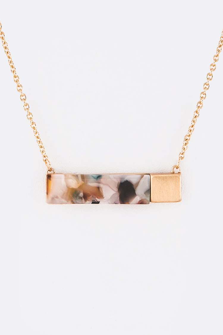 Celluloid Mix Bar Pendant Necklace Set