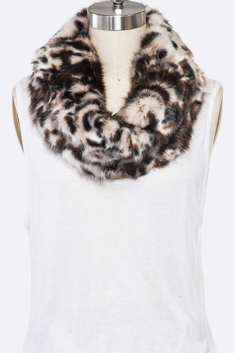Leopard Print Faux Fur Neck Warmer