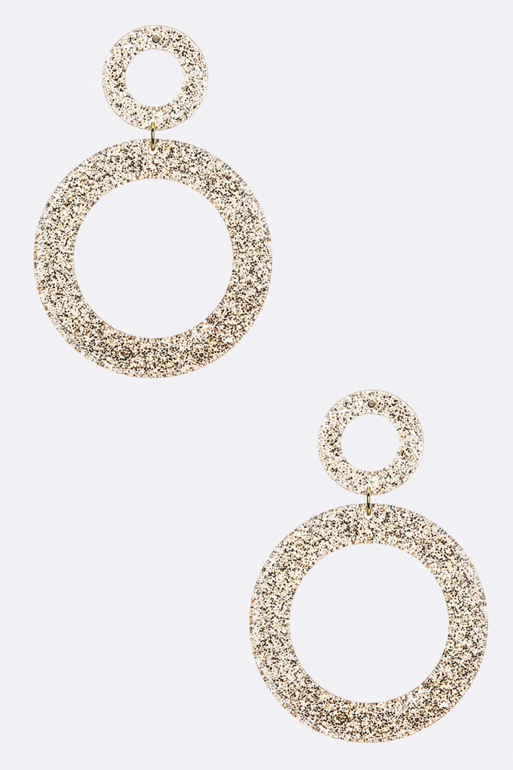 Glitter Acrylic Ring Drop Earrings