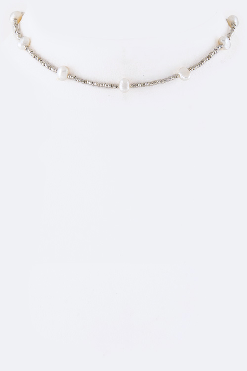 Pearl & Bead Station Choker Necklace