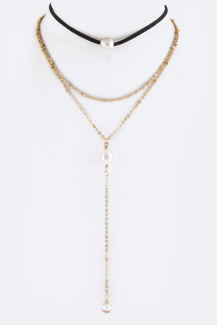 Layered Chain & Pearl Drop Choker Necklace