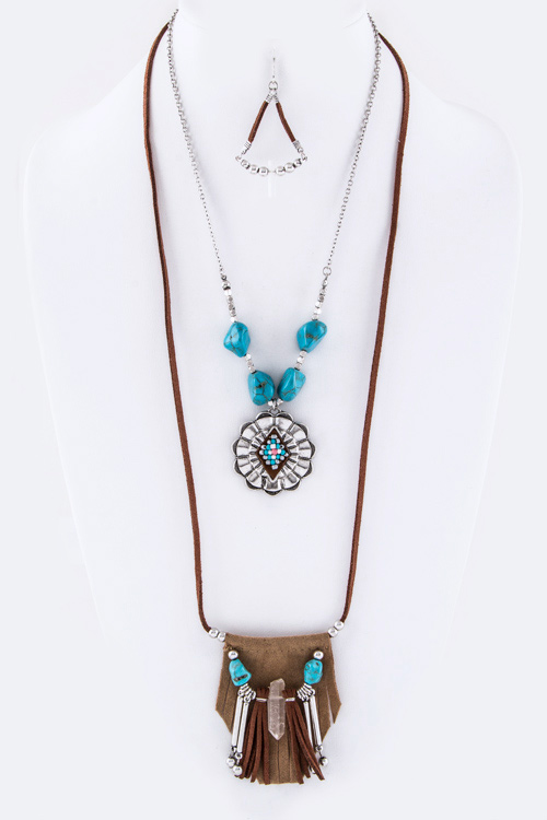 Concho & Tribal Charm Layer Necklace Set