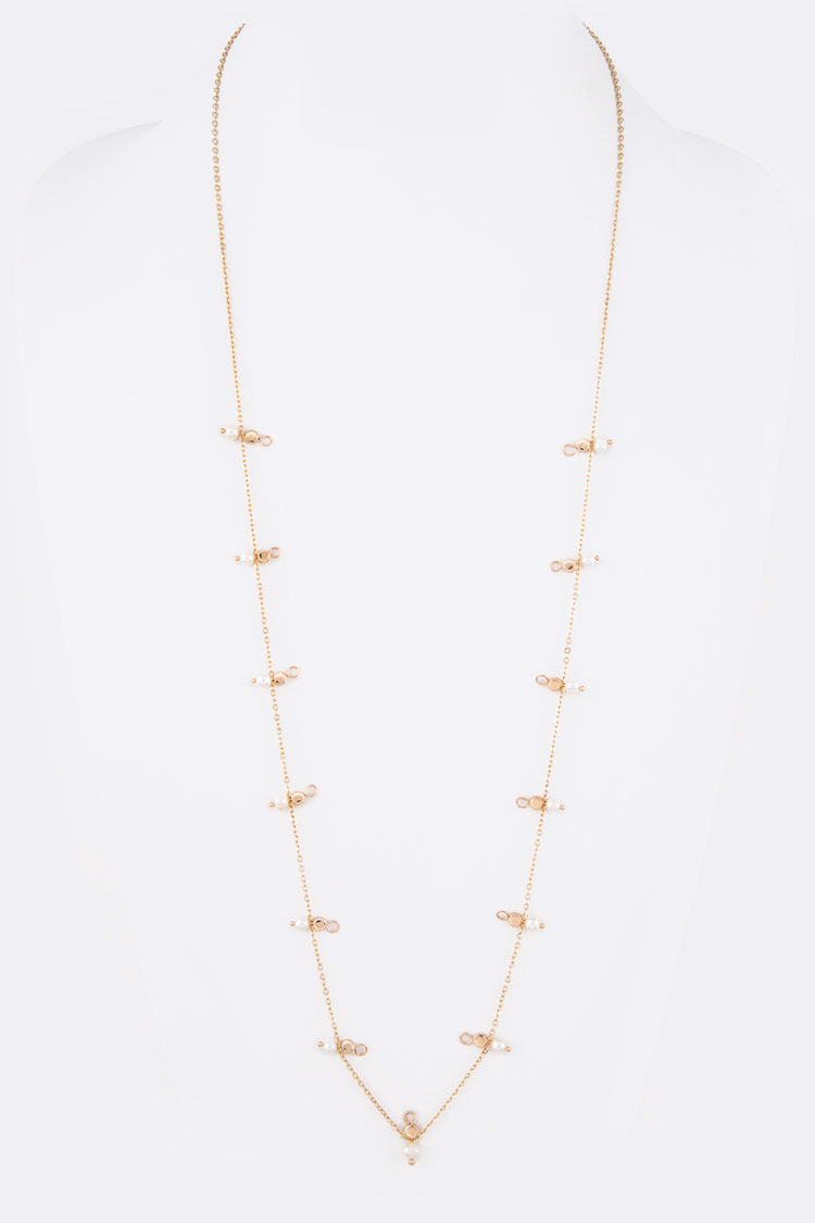 Petite Pearl and Beads Dainty Long Necklace