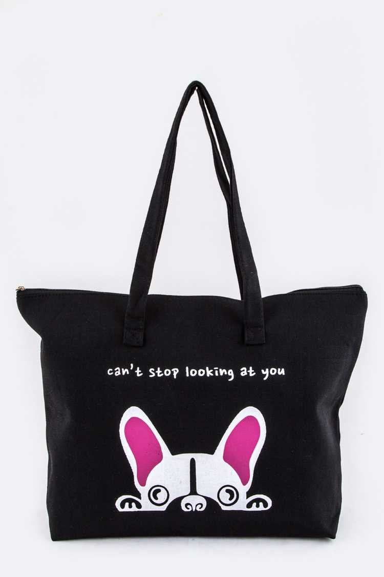 Comic Puppy Canvas Tote