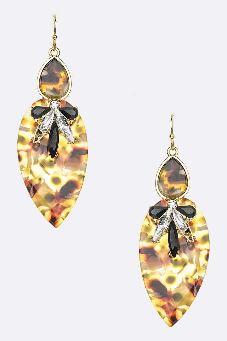 Celluloid Crystal Mix Media Fashion Earrings