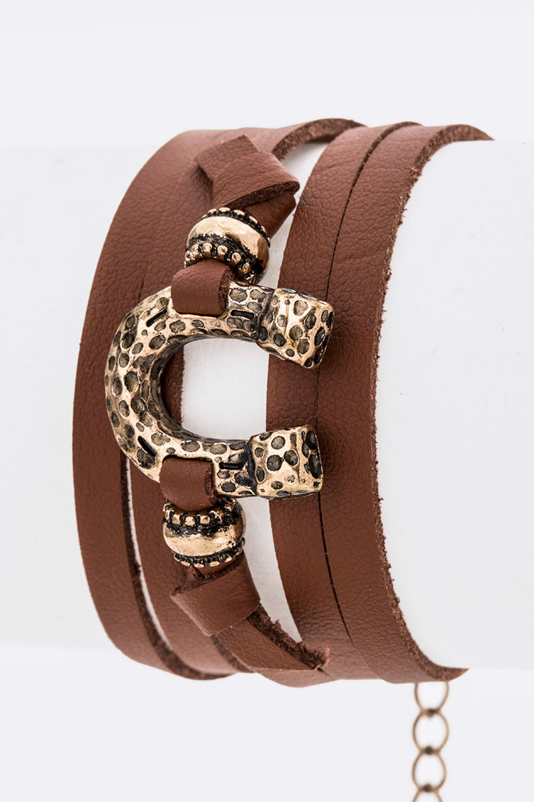 Horse Shoe Faux Leather Wrap Bracelet