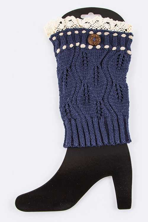 Fancy Knit Contrast Stitch Laced Leg Warmers