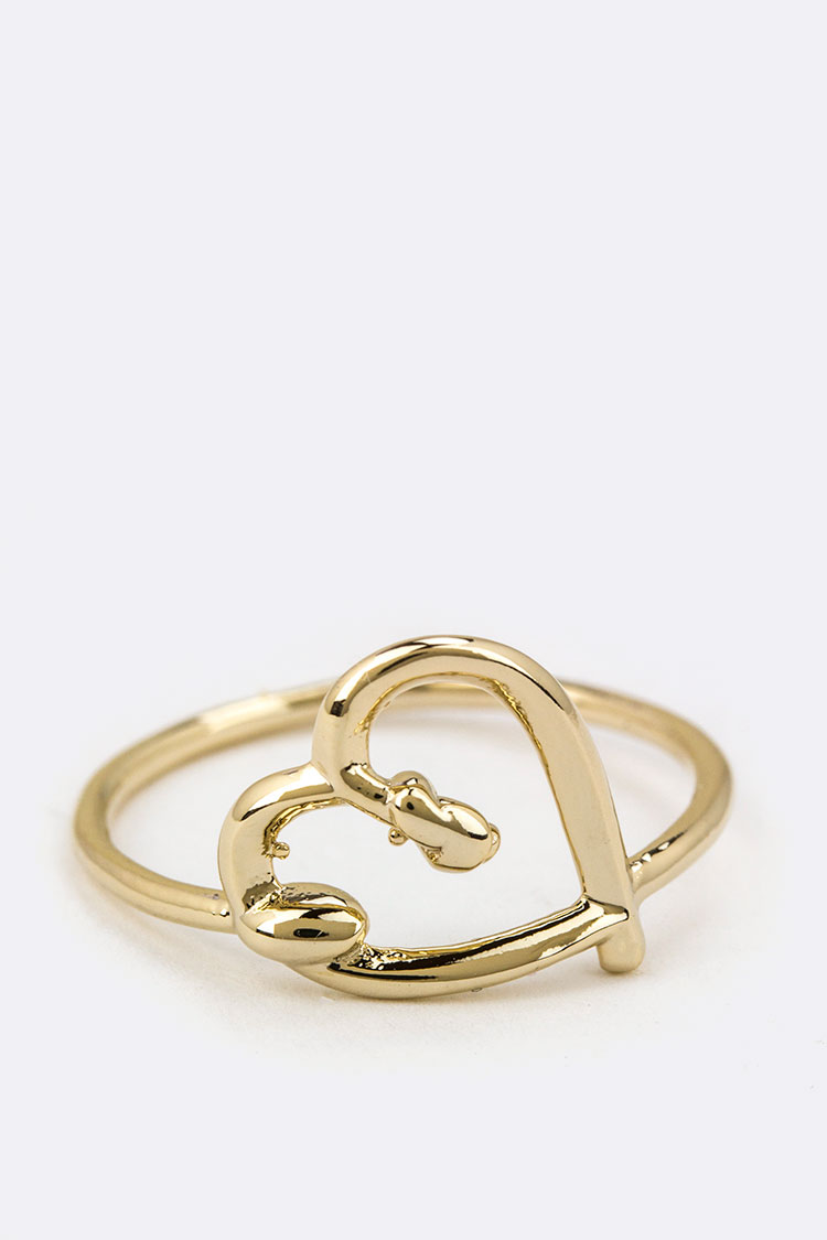 Knotted Heart Brass Ring