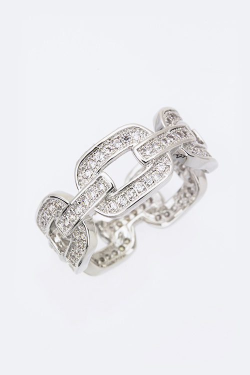 Cubic Zirconia Iconic Chained Fashion Ring