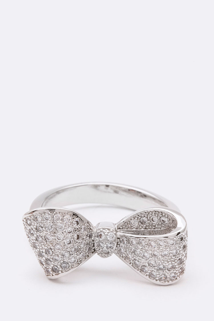 3D CZ Bow Tie Ring
