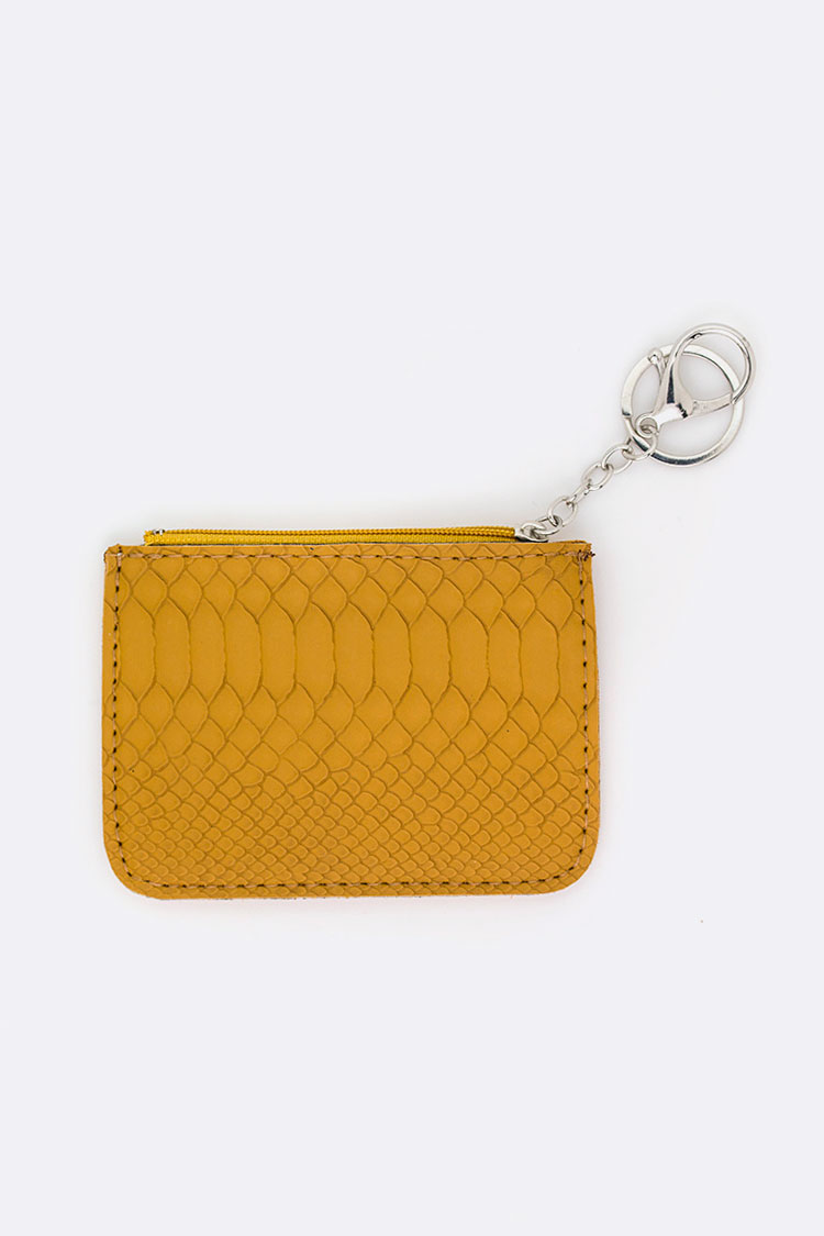 Embossed Snake Pattern Card Case Key Chain