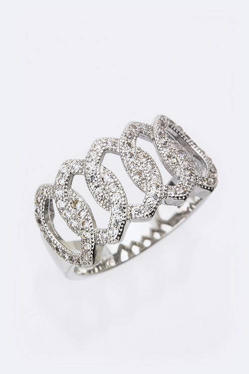 Cubic Zirconia Loopy Chain Fashion Ring