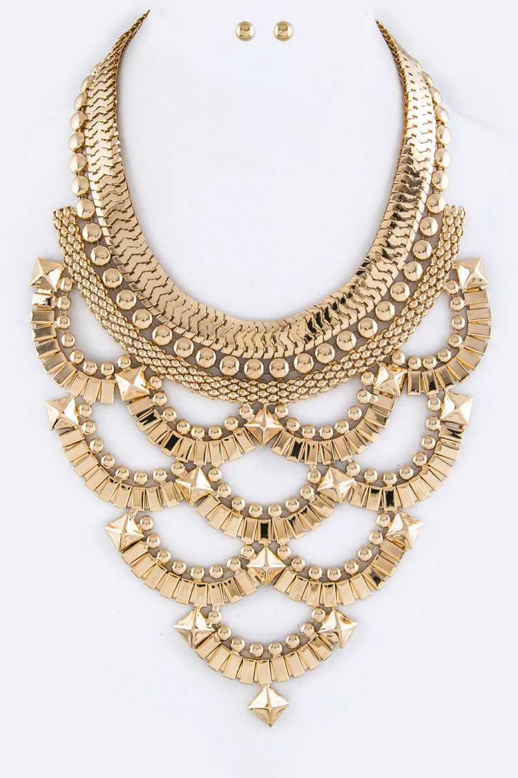 Layer Chain Hoops Bib Necklace Set
