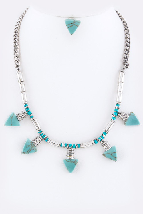 Turquoise Arrows Native Statement Necklace Set