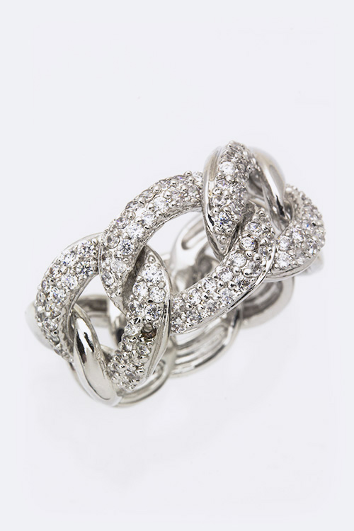 Cubic Zirconia Chunky Chain Statement Ring