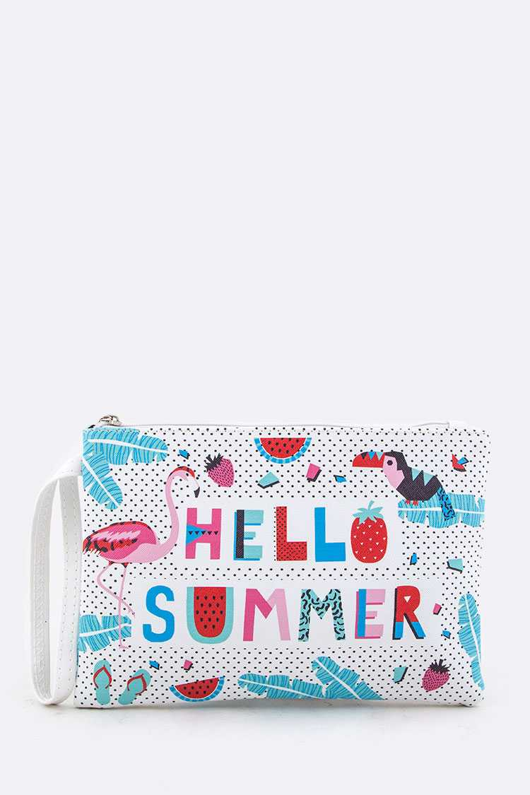 Hello Summer Mix Print Pouch