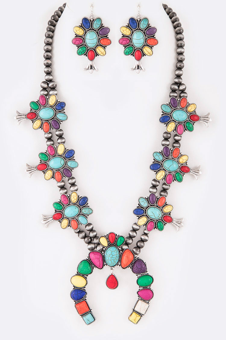 Squash Blossom Iconic Stone Necklace Set