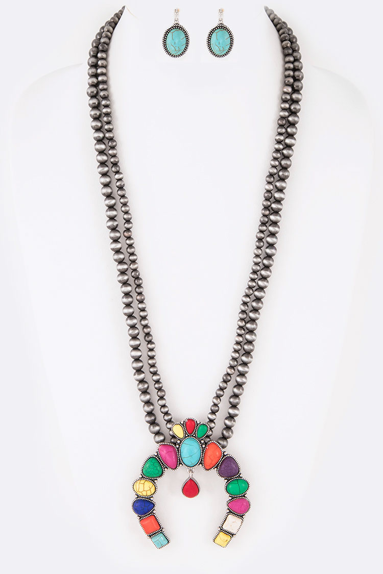 Squash Blossom Navajo Beads Statement Necklace Set
