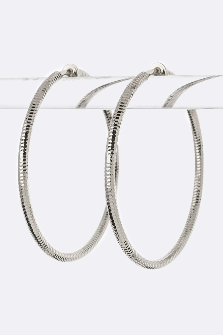 Diamond Cut Hoop Clip-On Earrings