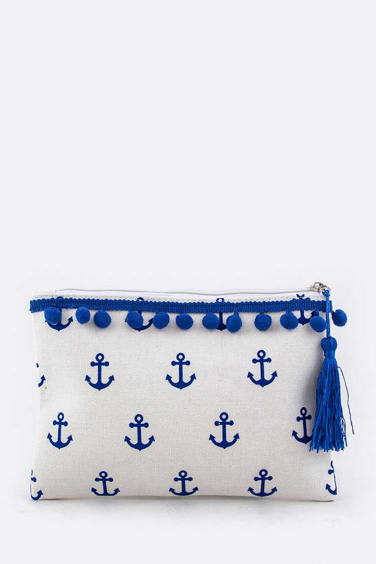 Anchor PomPom Canvas Pouch