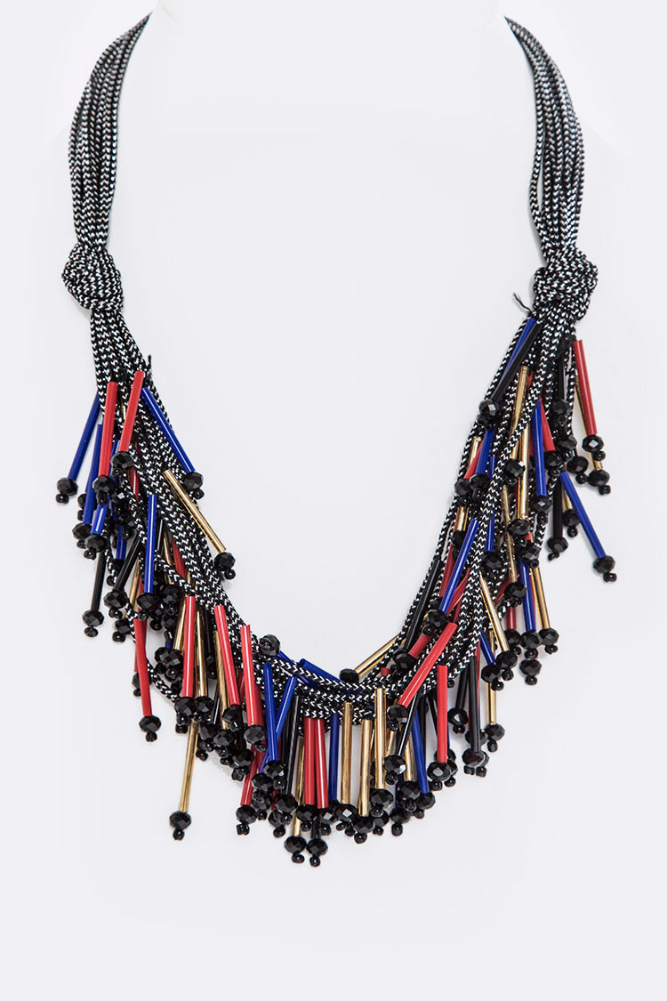 Fringe Beads Layer Strings Necklace