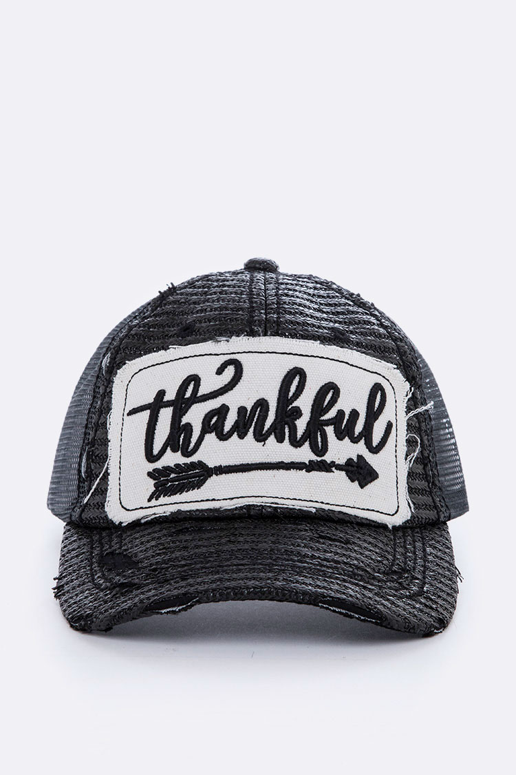 Thankful Embroidery Trucker Cap