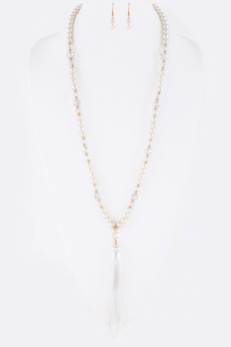 Crystal & Pearl Mix Long Tassel Pendant Necklace Set