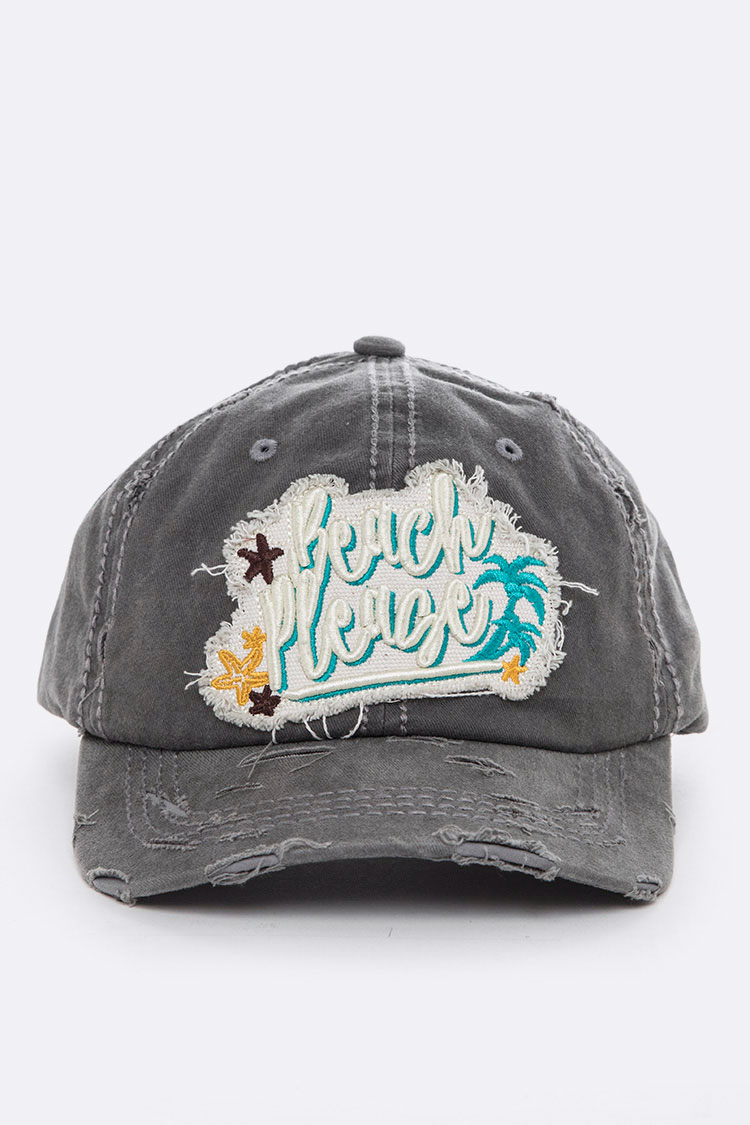 Beach Please Embroidery Cotton Cap
