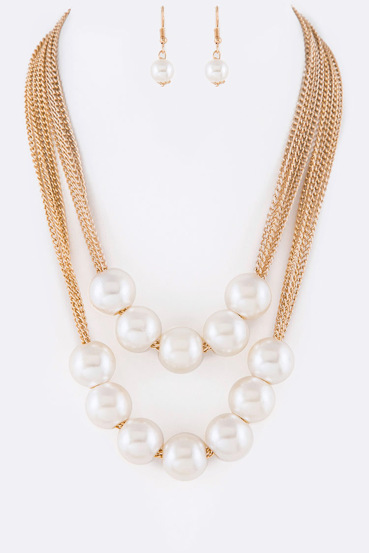 Large Pearl Iconic Layer Necklace Set