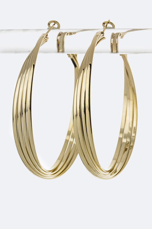 Overlapped Layer Hoop Earrings