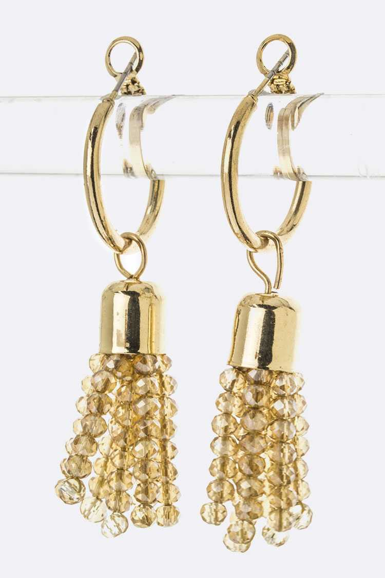 Bead Tassel Hoop Earrings