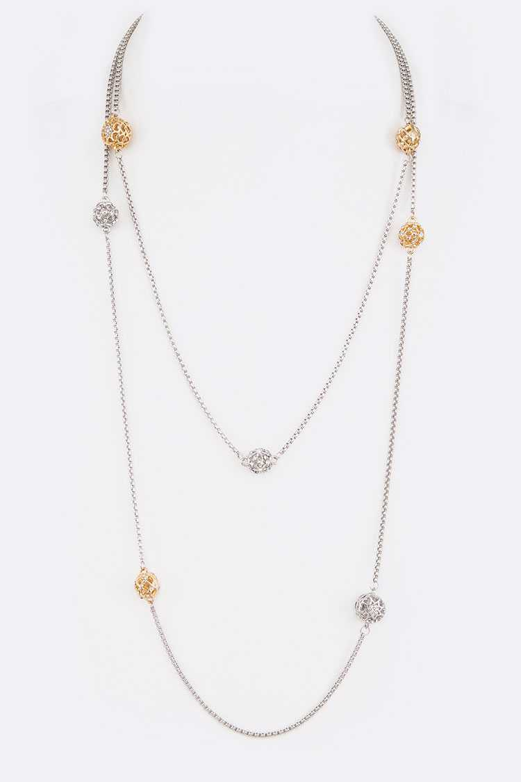 "52"" 2 Tone Crystal Beads Station Long Necklace"