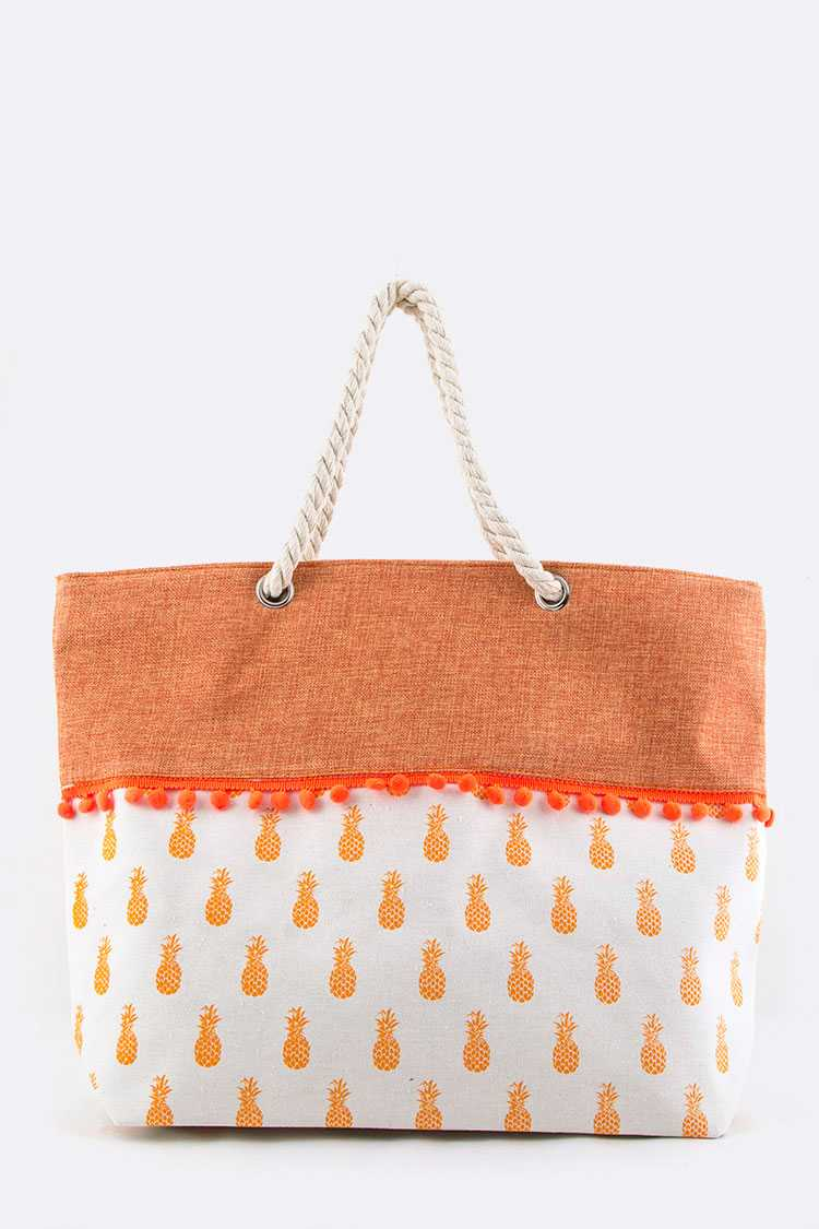 Pineapple PomPom Canvas Tote