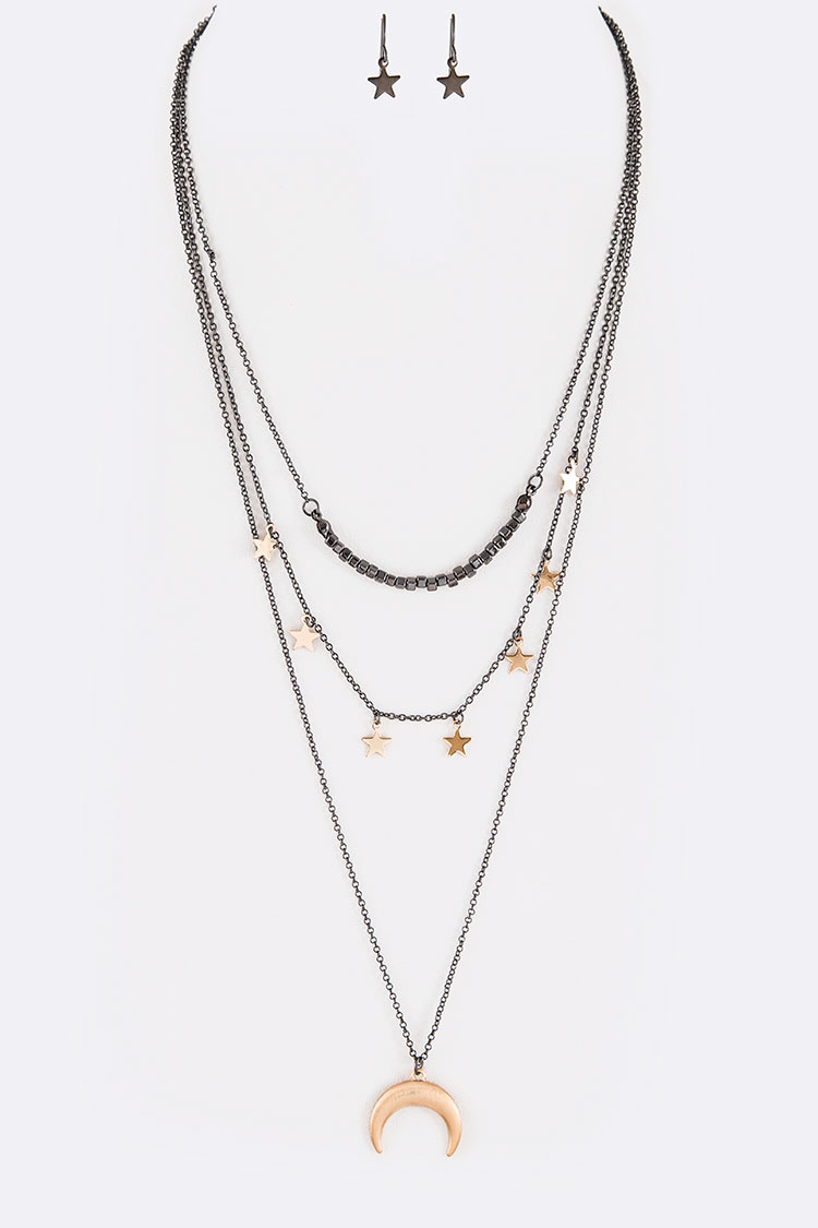 Horn and Star Drop Layer Necklace Set
