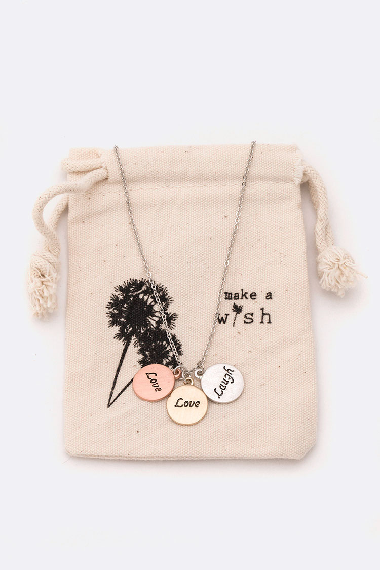 Love & Laugh 3Tone Pendant Pouch Necklace