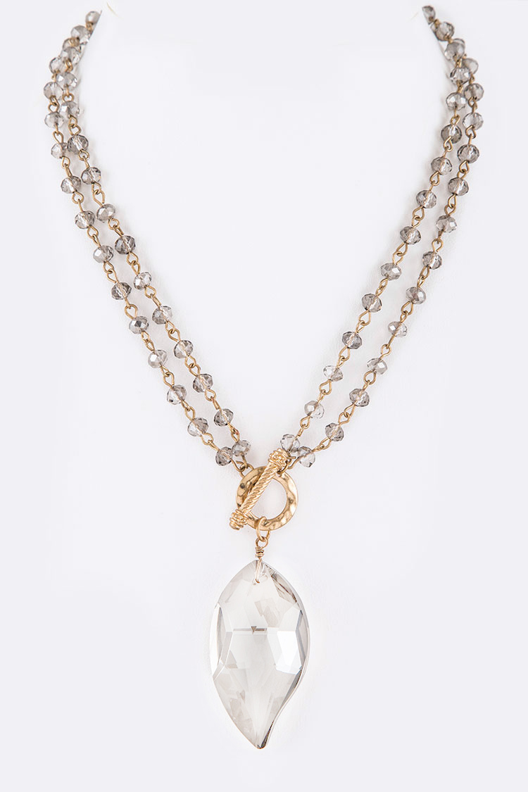 Convertible Crystal Drop Station Toggle Necklace