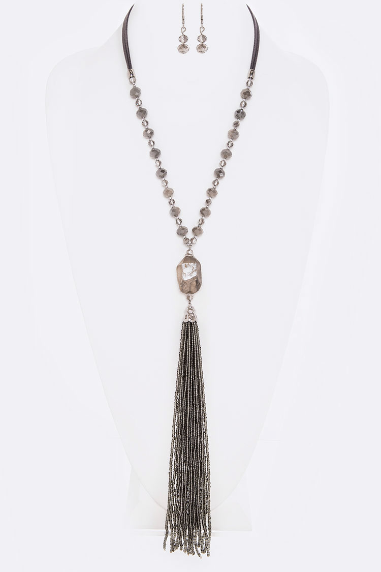 Long Beads Tassel Necklace Set
