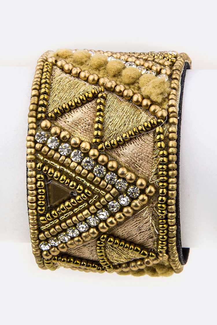 Beaded Geo Adjustable Cuff