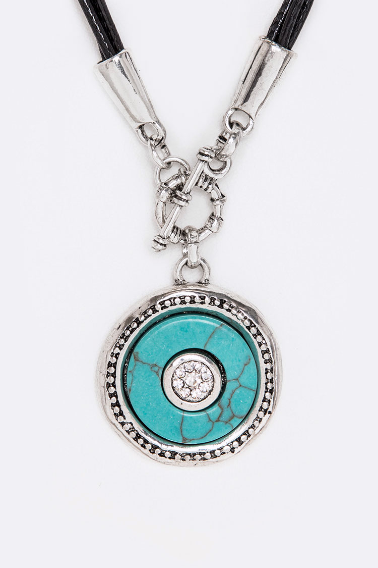 Pave Crystal & Turquoise Disk Toggle Necklace Set
