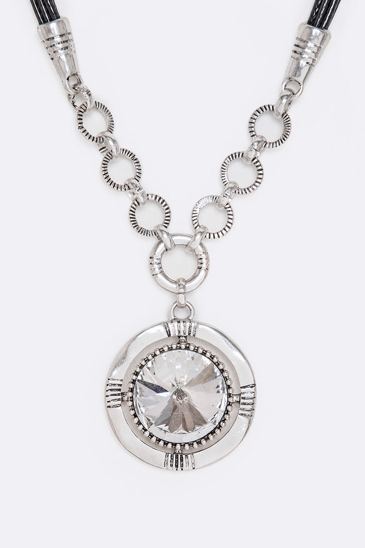 Crystal Disc Pendant Necklace Set