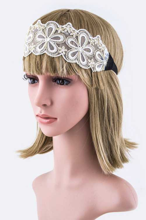 Lurex Flower Mesh Stretch Headband