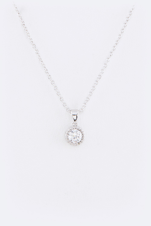 CZ Round Drop Pendant Necklace