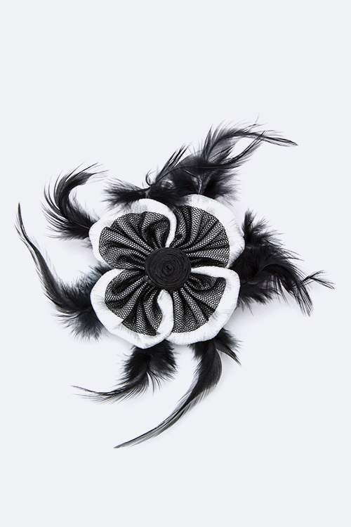 Feathered Flower Hair Clip & Pin
