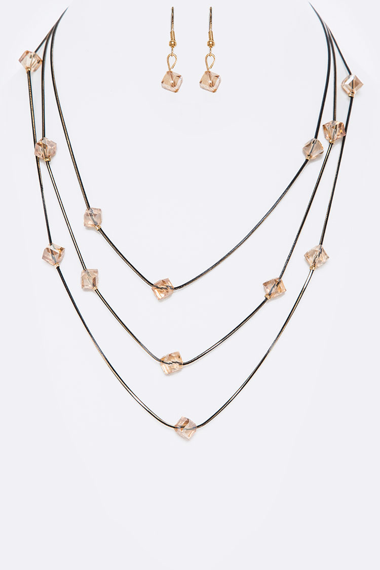 Stationed Cubic Crystals Layer Necklace Set