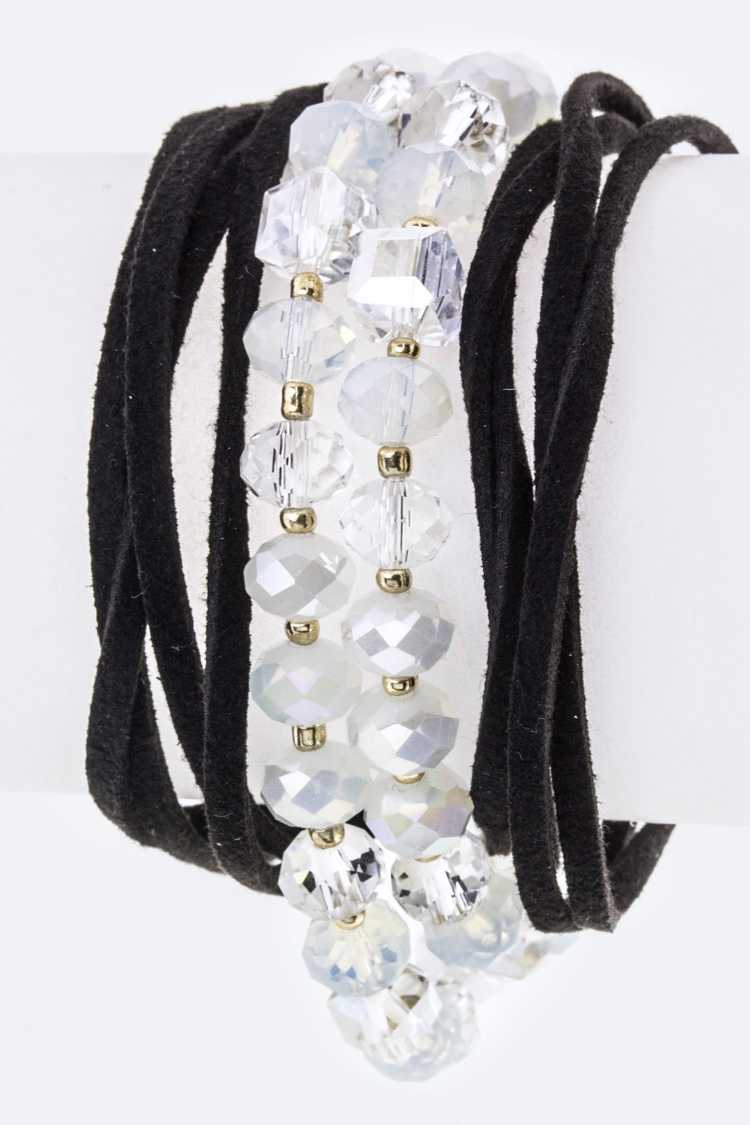 Beads & Suede Layer Drawstring Bracelet