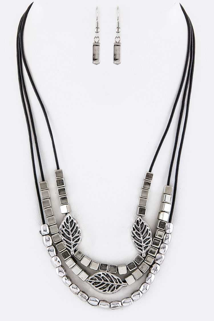 Mix Metal Beads & Leaf Layer Necklace Set