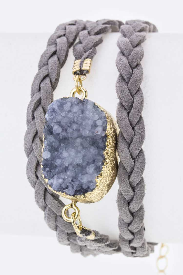 Druzy & Braided Suede Layer Bracelet
